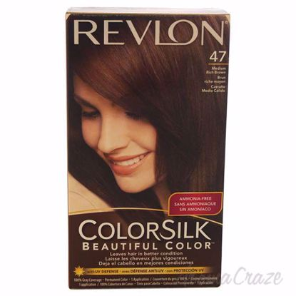 Picture of colorsilk Beautiful Color #47 Medium Rich Brown by Revlon for Unisex - 1 Application Hair Color