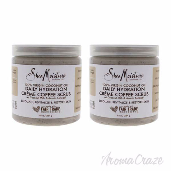 Picture of 100 Percent Virgin Coconut Oil Daily Hydration Creme Coffee Scrub by Shea Moisture for Unisex - 8 oz - Pack of 2