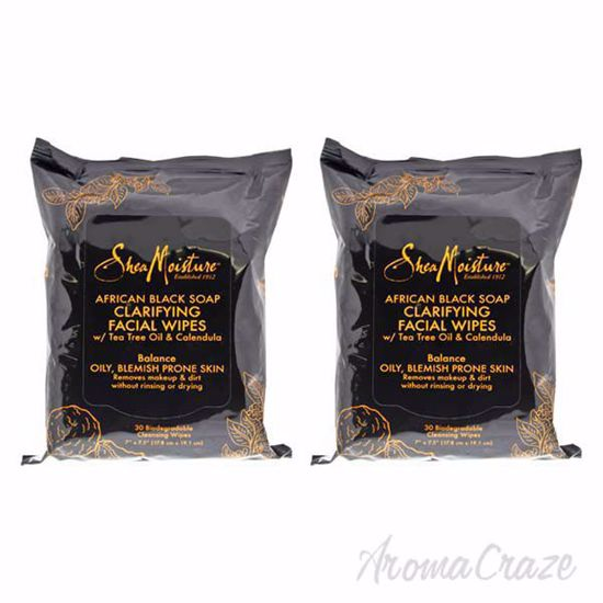 Picture of African Black Soap Clarifying Facial Wipes by Shea Moisture for Unisex - 30 Pc Wipes - Pack of 2