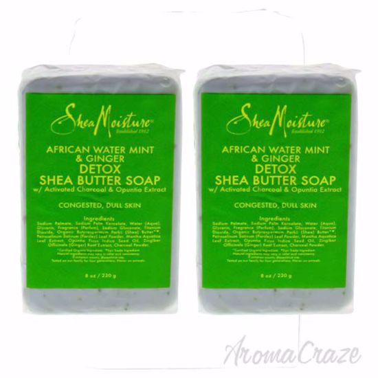 Picture of African Water Mint and Ginger Detox Shea Butter Soap by Shea Moisture for Unisex - 8 oz Bar Soap - Pack of 2
