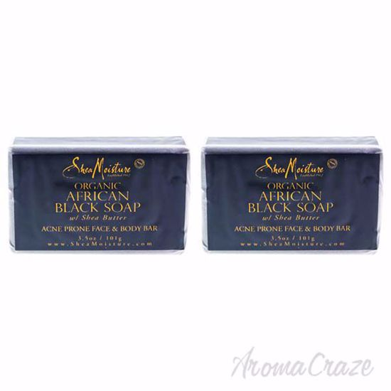 Picture of Organic African Black Soap Acne Prone Face & Body by Shea Moisture for Unisex - 3.5 oz Bar Soap - Pack of 2