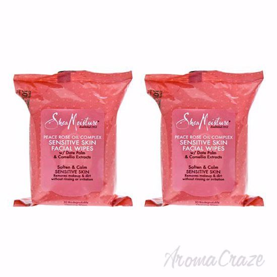 Picture of Peace Rose Oil Complex Sensitive Skin Facial Wipes by Shea Moisture for Unisex - 30 Pc Facial Wipes - Pack of 2