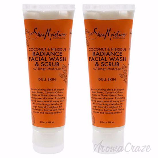 Picture of Coconut & Hibiscus Radiance Facial Wash & Scrub by Shea Moisture for Unisex - 4 oz Scrub - Pack of 2