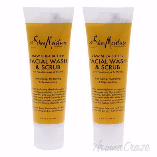 Picture of Raw Shea Butter Facial Wash and Scrub by Shea Moisture for Unisex - 4 oz Cleanser - Pack of 2