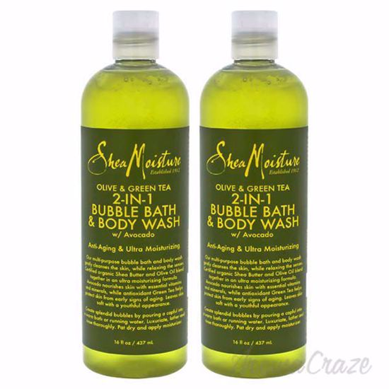 Picture of Olive & Green Tea 2-In-1 Bubble Bath Body Wash Anti-Aging & Ultra-Moisturzing by Shea Moisture for Unisex - 16 oz Body Wash - Pack of 2