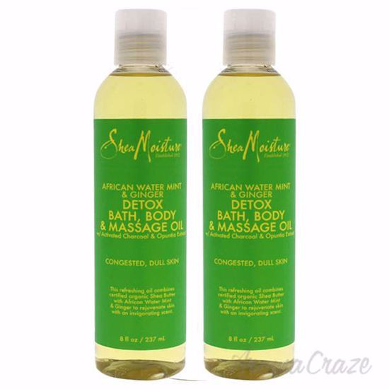 Picture of African Water Mint and Ginger Detox Bath-Body and Massage Oil by Shea Moisture for Unisex - 8 oz Oil - Pack of 2