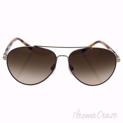 Burberry BE 3089 1145/13 Light Gold/Brown Gradient Sunglasses for Women on SunglasssCraze.com. 58-14-140 mm Sunglasses. Gold color frame with brown gradient lens of a pilot shape.