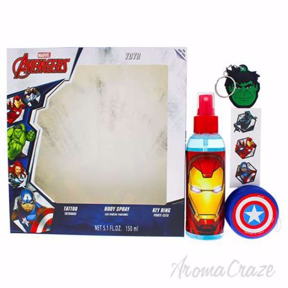 Picture of Avengers by Marvel for Kids - 4 Pc Gift Set 5.1oz Body Spray, Tattoo, YoYo, KeyRing
