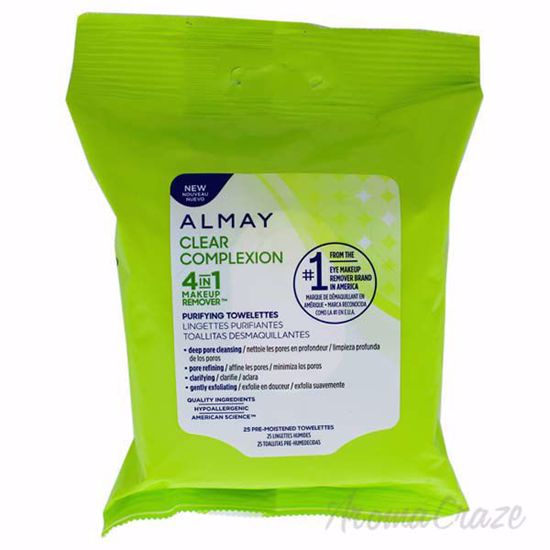 Picture of Clear Complexion 4-In-1 Makeup Remover Towelettes by Almay for Unisex - 25 Count Towelettes