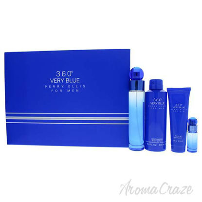 Picture of 360 Very Blue by Perry Ellis for Men - 4 Pc Gift Set 3.4oz EDT Spray, 7.5ml EDT Spray, 6.8oz Body Sp