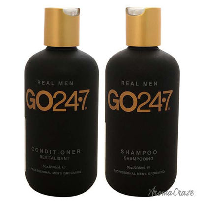 Real Men Shampoo and Conditioner Kit by GO247 for Men - 8oz
