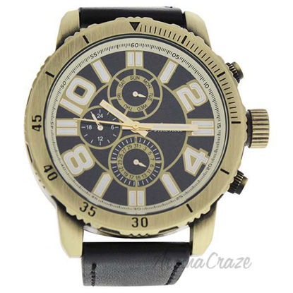 AG1905-02 Gold/Black Leather Strap Watch by Antoneli for Men