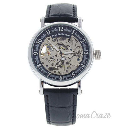 REDH2 Silver/Black Leather Strap Watch by Jean Bellecour for