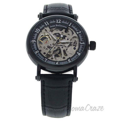 REDH4 Black Leather Strap Watch by Jean Bellecour for Men -