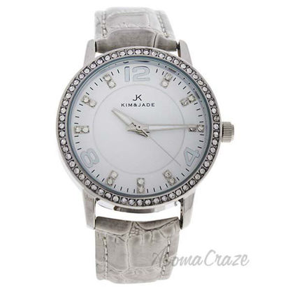 2031L-SGW Silver/Grey Leather Strap Watch by Kim and Jade fo