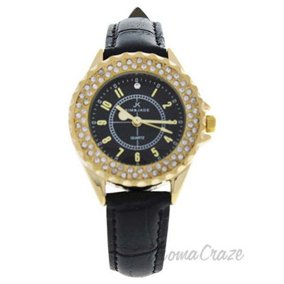 2033L-GBLBL Gold/Black Leather Strap Watch by Kim and Jade f