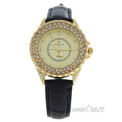 2033L-GBLG Gold/Black Leather Strap Watch by Kim and Jade fo