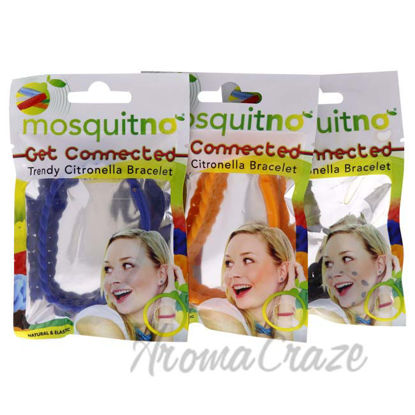 Picture of Get Connected Citronella Bracelet Set by Mosquitno for Unisex - 3 Pc Bracelet Black, Orange, Blue