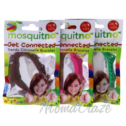 Picture of Get Connected Citronella Bracelet Set by Mosquitno for Kids - 3 Pc Bracelet Brown, Pink, Green