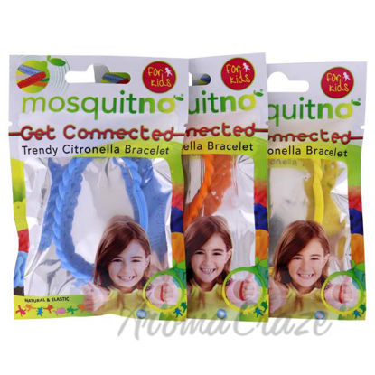 Picture of Get Connected Citronella Bracelet Set by Mosquitno for Kids - 3 Pc Bracelet Light Blue, Orange, Yellow
