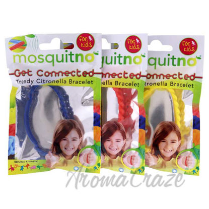Picture of Get Connected Citronella Bracelet Set by Mosquitno for Kids - 3 Pc Bracelet Yellow, Red, Blue
