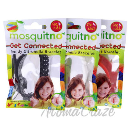 Picture of Get Connected Citronella Bracelet Set by Mosquitno for Kids - 3 Pc Bracelet Red, White, Black
