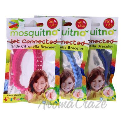 Picture of Get Connected Citronella Bracelet Set by Mosquitno for Kids - 3 Pc Bracelet Light Blue, Pink, Blue