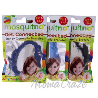 Picture of Get Connected Citronella Bracelet Set by Mosquitno for Kids - 3 Pc Bracelet Black, Light Blue, Blue