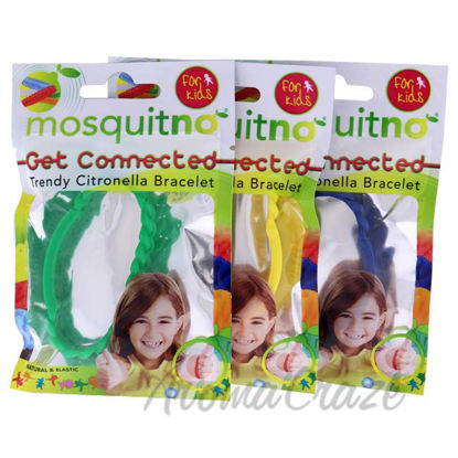 Picture of Get Connected Citronella Bracelet Set by Mosquitno for Kids - 3 Pc Bracelet Green, Yellow, Blue