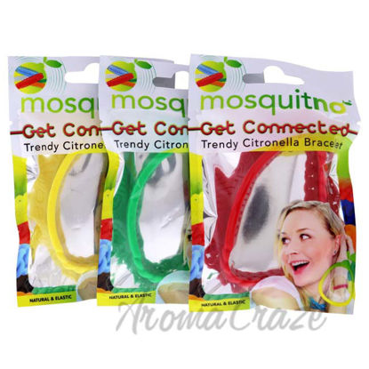 Picture of Get Connected Citronella Bracelet Set by Mosquitno for Unisex - 3 Pc Bracelet Red, Green, Yellow