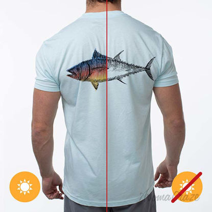 Picture of Men Classic Crew Tee - Big Fish-Ice Blue by DelSol by Men - 1 Pc T-Shirt (Medium)