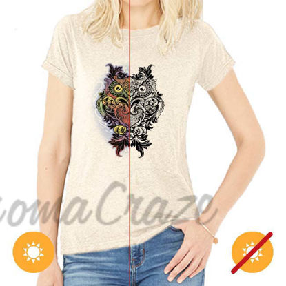 Picture of Women Crew Tee - Ornate Owl - Beige by DelSol for Women - 1 Pc T-Shirt (M-M-M)