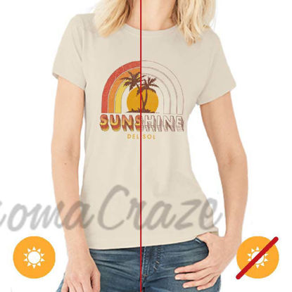 Picture of Women Crew Tee - Sunshine - Beige by DelSol for Women - 1 Pc T-Shirt (L-G-G)