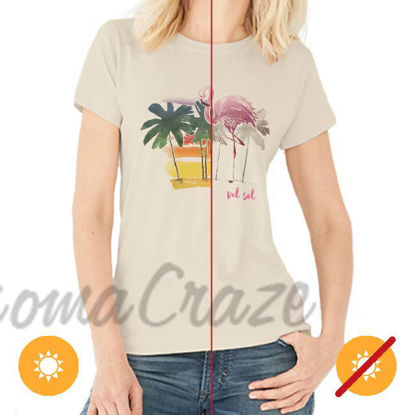 Picture of Women Crew Tee - Watercolor Flamingo - Beige by DelSol for Women - 1 Pc T-Shirt (L-G-G)