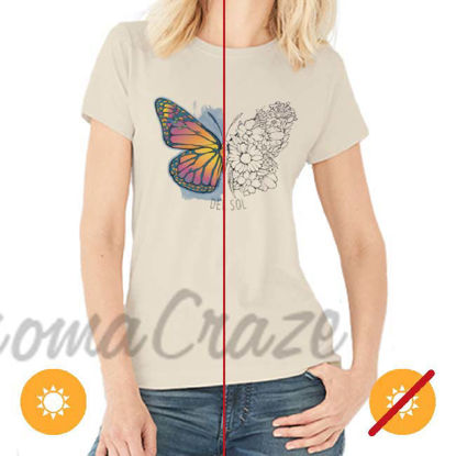 Picture of Women Crew Tee - Butterfly Floral - Beige by DelSol for Women - 1 Pc T-Shirt (M-M-M)