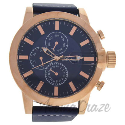 Picture of AG1901-04 Rose Gold/Blue Leather Strap Watch by Antoneli for Men - 1 Pc Watch