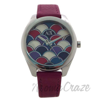 Picture of AX5523 Geo Purple Leather Watch by Armani Exchange for Women - 1 Pc Watch