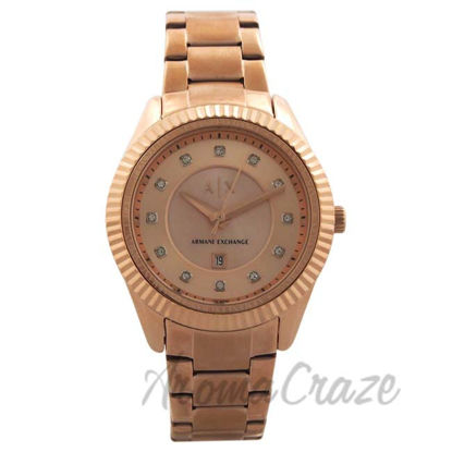 Picture of AX5432 Rose Gold-Tone Stainless Steel Bracelet Watch by Armani Exchange for Women - 1 Pc Watch