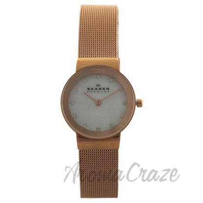 Picture of 358SRRD Rose Gold Ion Plated Stainless Steel Mesh Bracelet Watch by Skagen for Women - 1 Pc Watch
