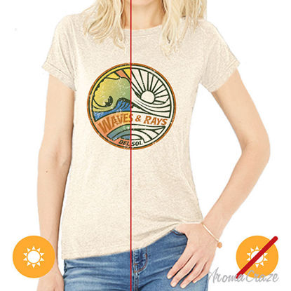 Picture of Women Crew Tee - Waves and Rays - Beige by DelSol for Women - 1 Pc T-Shirt (L-G-G)