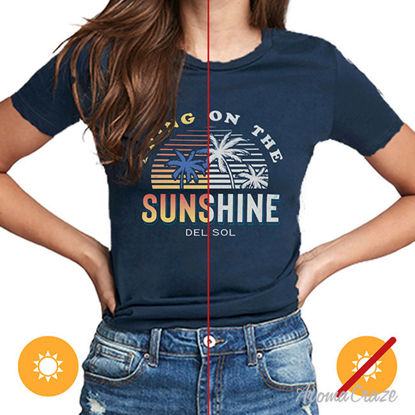 Picture of Women Crew Tee - Bring On The Sunshine - Indigo by DelSol for Women - 1 Pc T-Shirt (L-G-G)