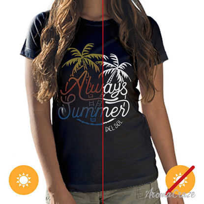 Picture of Women Crew Tee - Always Palms - Black by DelSol for Women - 1 Pc T-Shirt (L-G-G)