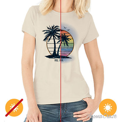 Picture of Women Crew Tee - Island Palm Sunset - Beige by DelSol for Women - 1 Pc T-Shirt (L-G-G)