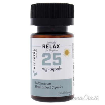 Picture of Seriously Relax Day Time 25mg Gel Capsules by Receptra Naturals for Unisex - 15 Count Dietary Supplement
