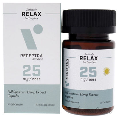 Picture of Seriously Relax Day Time 25mg Gel Capsules by Receptra Naturals for Unisex - 30 Count Dietary Supplement