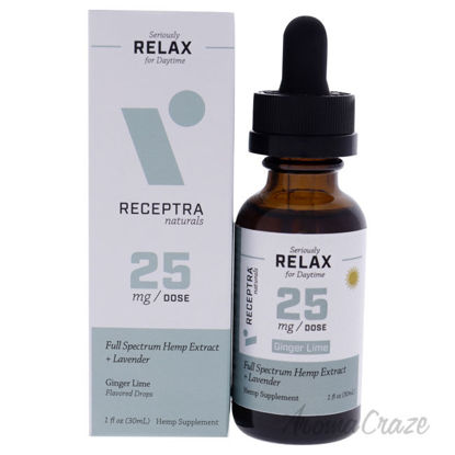 Picture of Seriously Relax Day Time 25mg Drops - Ginger Lime by Receptra Naturals for Unisex - 1 oz Dietary Supplement