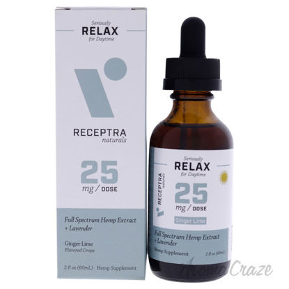 Picture of Seriously Relax Day Time 25mg Drops - Ginger Lime by Receptra Naturals for Unisex - 2 oz Dietary Supplement