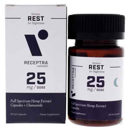 Picture of Serious Rest Nighttime 25mg Gel Capsules by Receptra Naturals for Unisex - 30 Count Dietary Supplement