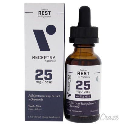 Picture of Serious Rest Nighttime 25mg Drops - Vanilla Mint by Receptra Naturals for Unisex - 1 oz Dietary Supplement
