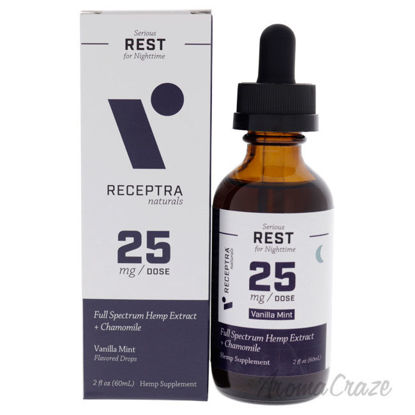 Picture of Serious Rest Nighttime 25mg Drops - Vanilla Mint by Receptra Naturals for Unisex - 2 oz Dietary Supplement